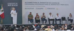 Gira de AMLO por Campeche por Tren Maya.